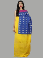 Blue Yellow Pink Ivory Handwoven Pochampally Mercerized Cotton Saree - S031701454