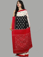 Black White Red Grey Handwoven Pochampally Mercerized Cotton Saree - S031701458