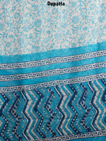 Sky Blue White Indigo Hand Block Printed Cotton Suit-Salwar Fabric With Chiffon Dupatta - S1628146