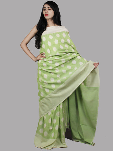 Pastel Green Ivory Handwoven Pochampally Mercerized Cotton Saree - S031701462