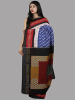 Blue Red Multi Color Handwoven Pochampally Mercerized Cotton Saree - S031701466