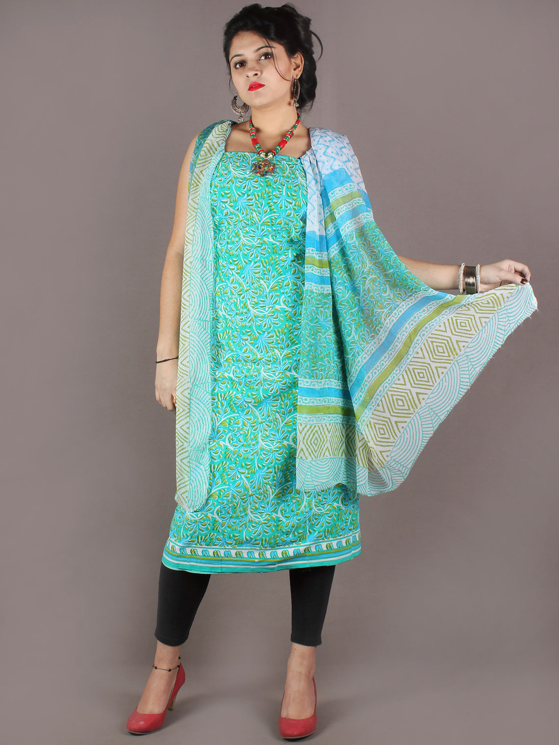 Cyan Blue White Hand Block Printed Cotton Suit-Salwar Fabric With Chiffon Dupatta - S1628147