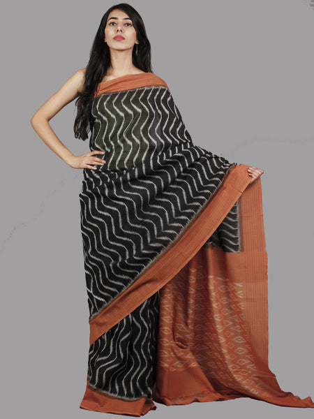 Black Brown Grey Handwoven Pochampally Mercerized Cotton Saree - S031701473