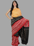 Black Red Yellow Grey Handwoven Pochampally Mercerized Cotton Saree - S031701481