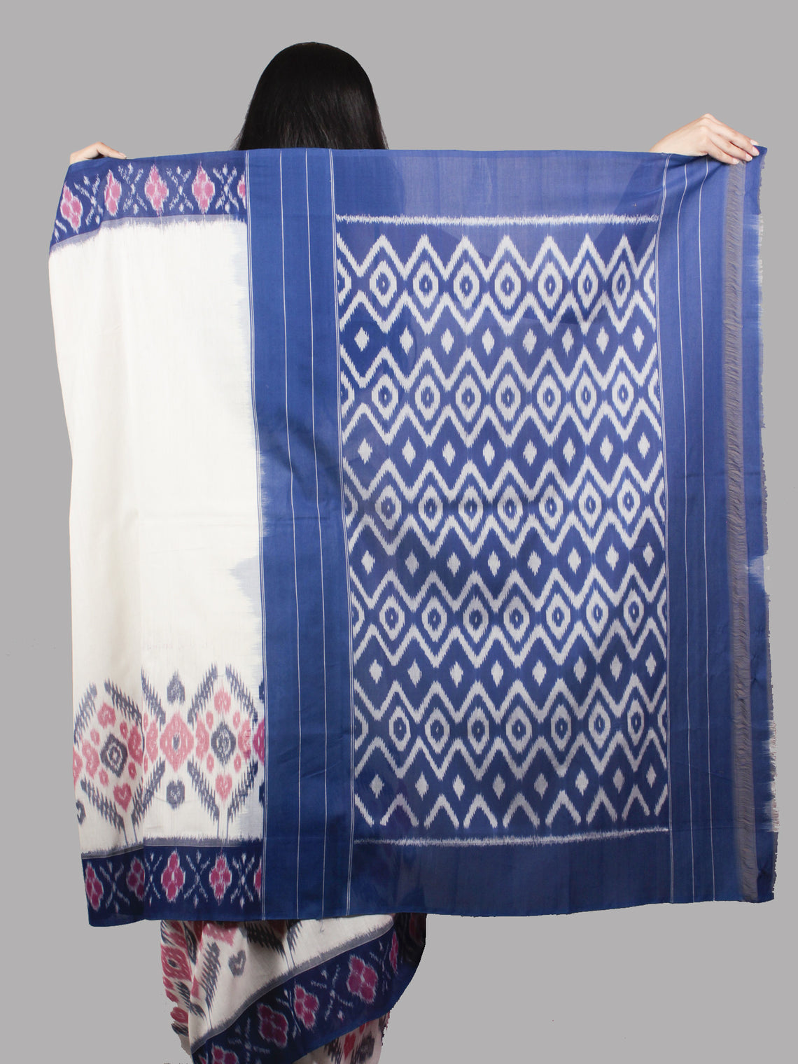 Ivory Indigo Purple Pink Grey Ikat Handwoven Pochampally Mercerized Cotton Saree - S031701486