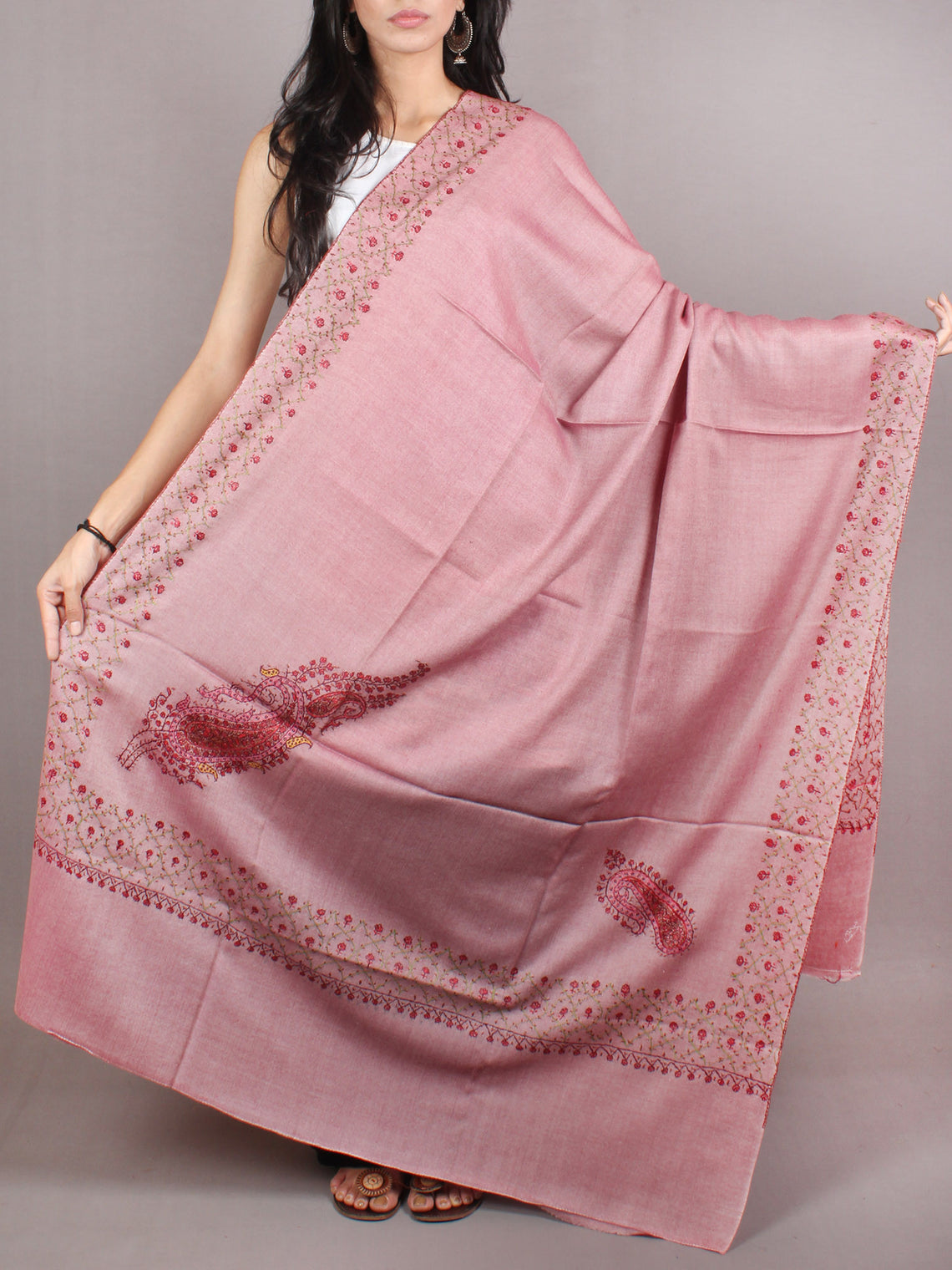 Thulian Pink Brown Red Pure Wool Jalidour Koundar Cashmere Shawl From Kashmir - S200405