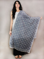 Blue Grey Pure Wool Stole from Kashmir - S6317087