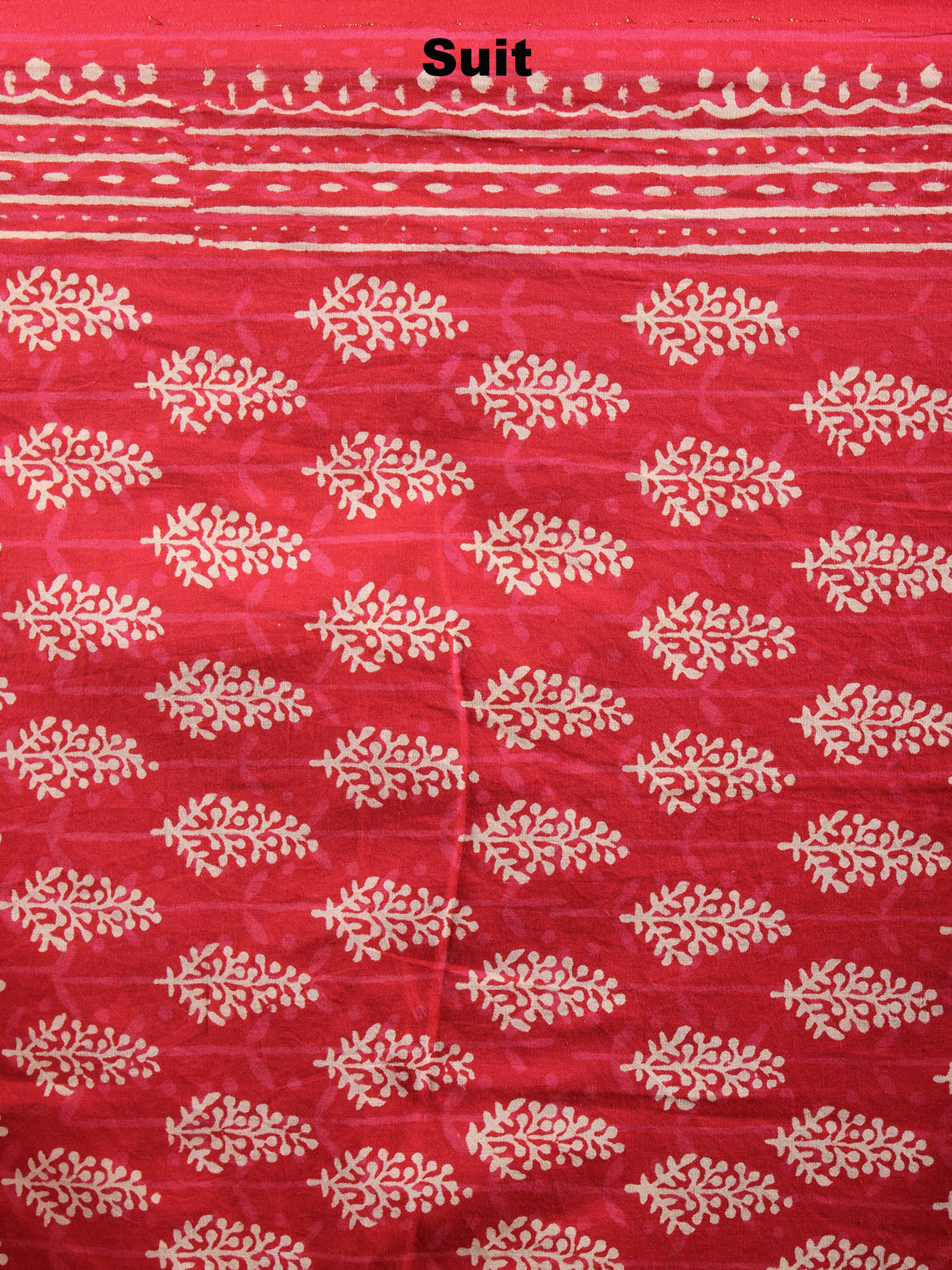 Red White Hand Block Printed Cotton Suit-Salwar Fabric With Chiffon Dupatta - S1628055
