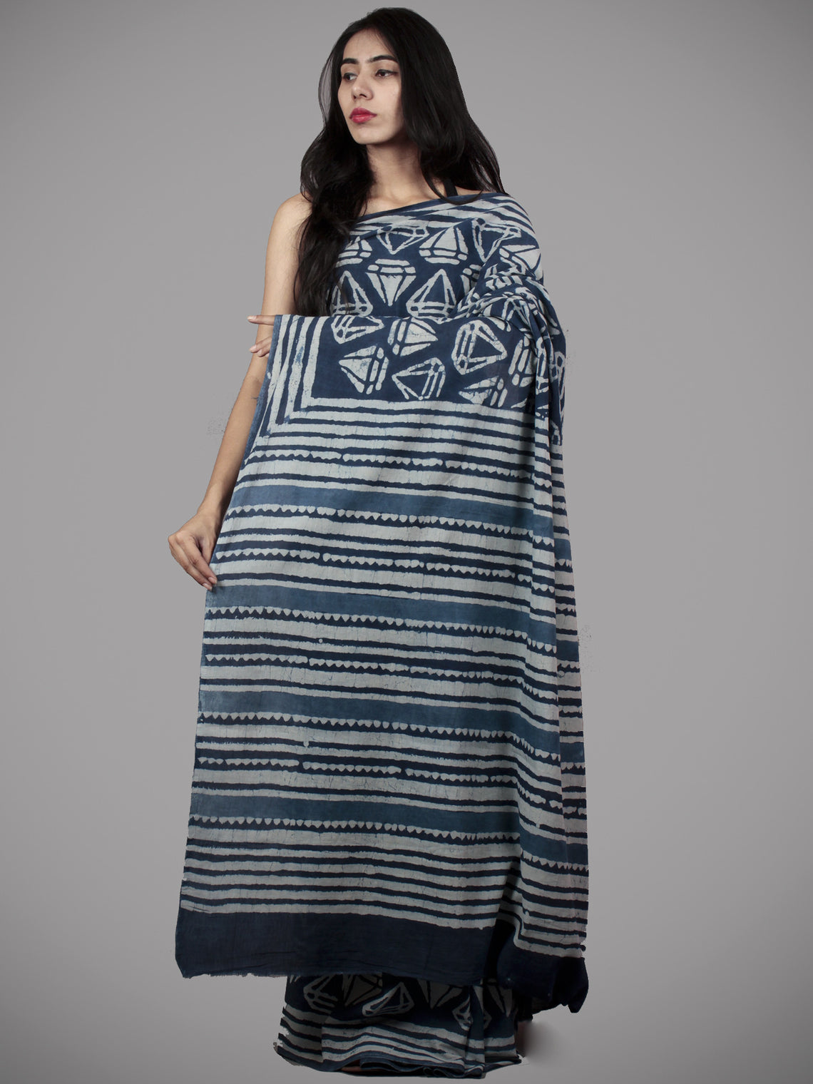 Indigo Ivory Hand Block Printed in Natural Colors Cotton Saree - S031701502