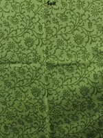 Asparagus Green Hand Block Printed Cotton Suit-Salwar Fabric With Chiffon Dupatta - S1628151