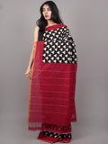 Black Ivory Red Double Ikat Handwoven Pochampally Mercerized Cotton Saree - S031701532