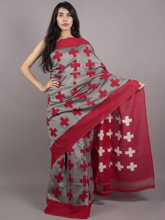 Grey Red White Double Ikat Handwoven Pochampally Mercerized Cotton Saree - S031701547