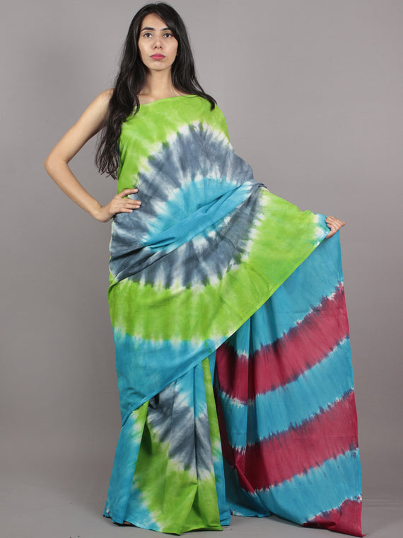 Green Blue Grey Ivory Hand Shibori Dyed Cotton Saree - S031701566