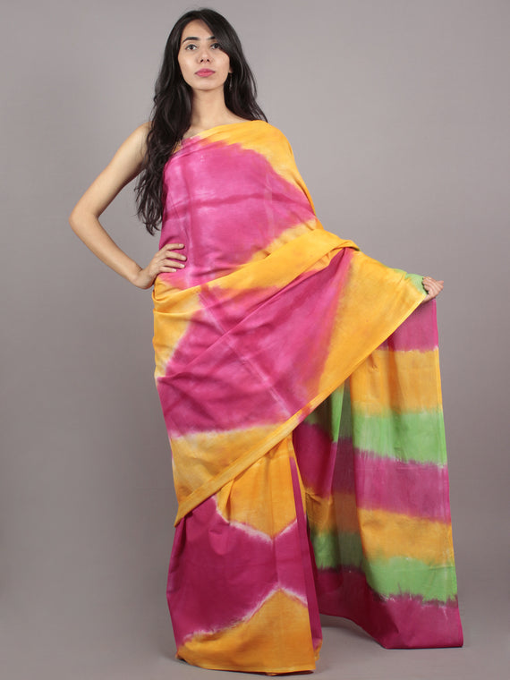 Yellow Green Pink Hand Shibori Dyed Cotton Saree - S031701567