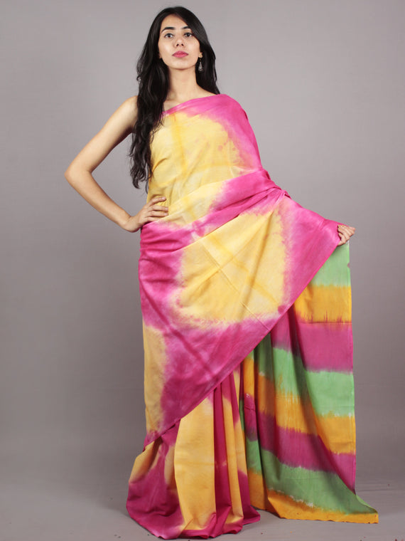 Yellow Pink Green Hand Shibori Dyed Cotton Saree - S031701569