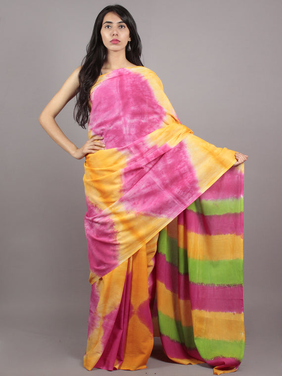 Yellow Pink Green Hand Shibori Dyed Cotton Saree - S031701571