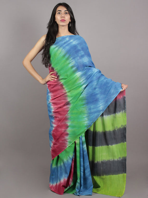 Blue Green Maroon Grey Hand Shibori Dyed Cotton Saree - S031701574
