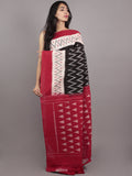 Black Ivory Red Grey Ikat Handwoven Pochampally Mercerized Cotton Saree - S031701579