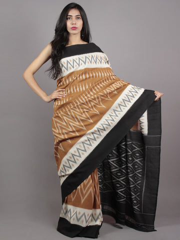 Brown Ivory Black Grey Ikat Handwoven Pochampally Mercerized Cotton Saree - S031701599