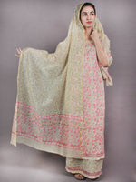 Ivory Pink Green Hand Block Printed Chanderi Kurta-Salwar Fabric With Chanderi Dupatta - S1628031