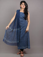 Indigo White Hand Block Printed Cotton Suit-Salwar Fabric With Chiffon Dupatta - S1628056