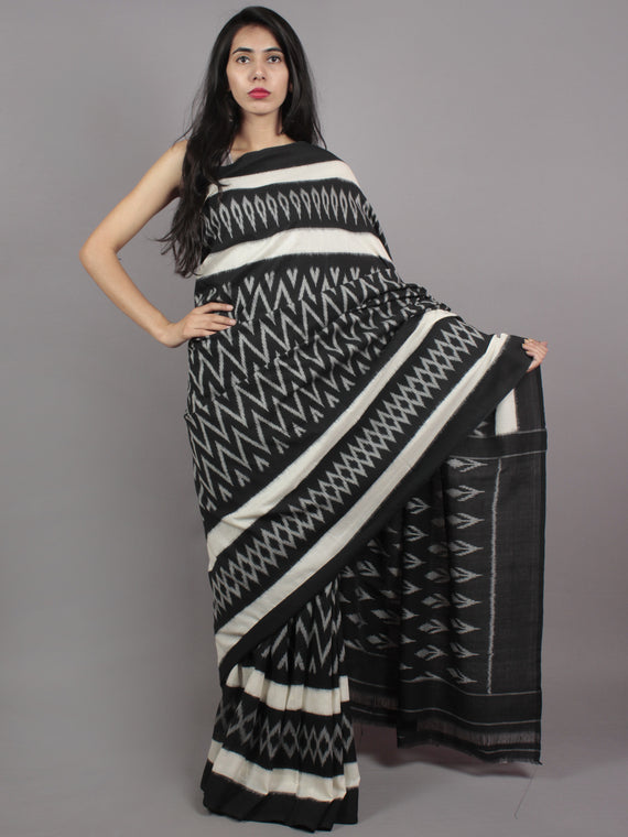 Black Ivory Grey Ikat Handwoven Pochampally Mercerized Cotton Saree - S031701622