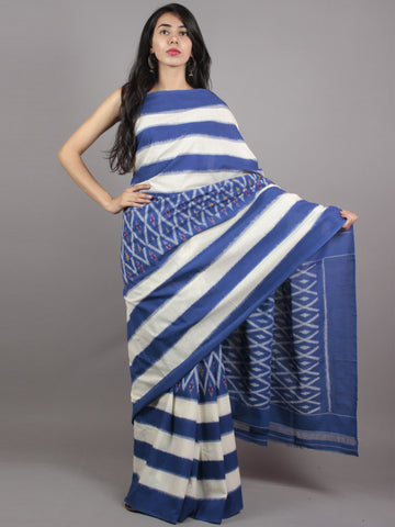 Navy Blue Ivory Ikat Handwoven Pochampally Mercerized Cotton Saree - S031701633