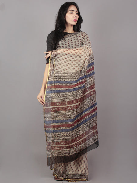Beige Maroon Blue Hand Block Printed in Natural Colors Chiffon Saree - S031701663