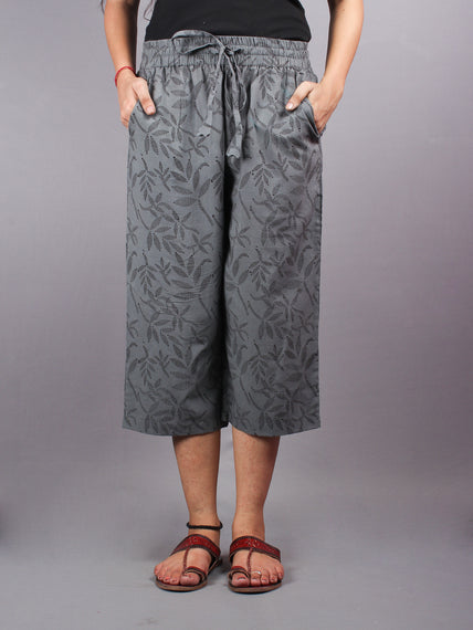 Grey Hand Block Printed Elasticated Waist Capri - C0267016