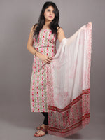 White Green Red Pink Hand Block Printed Cotton Suit-Salwar Fabric With Chiffon Dupatta - S1628057