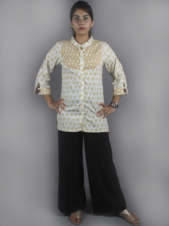 White Yellow Hand Block Printed Shirt- S3517017