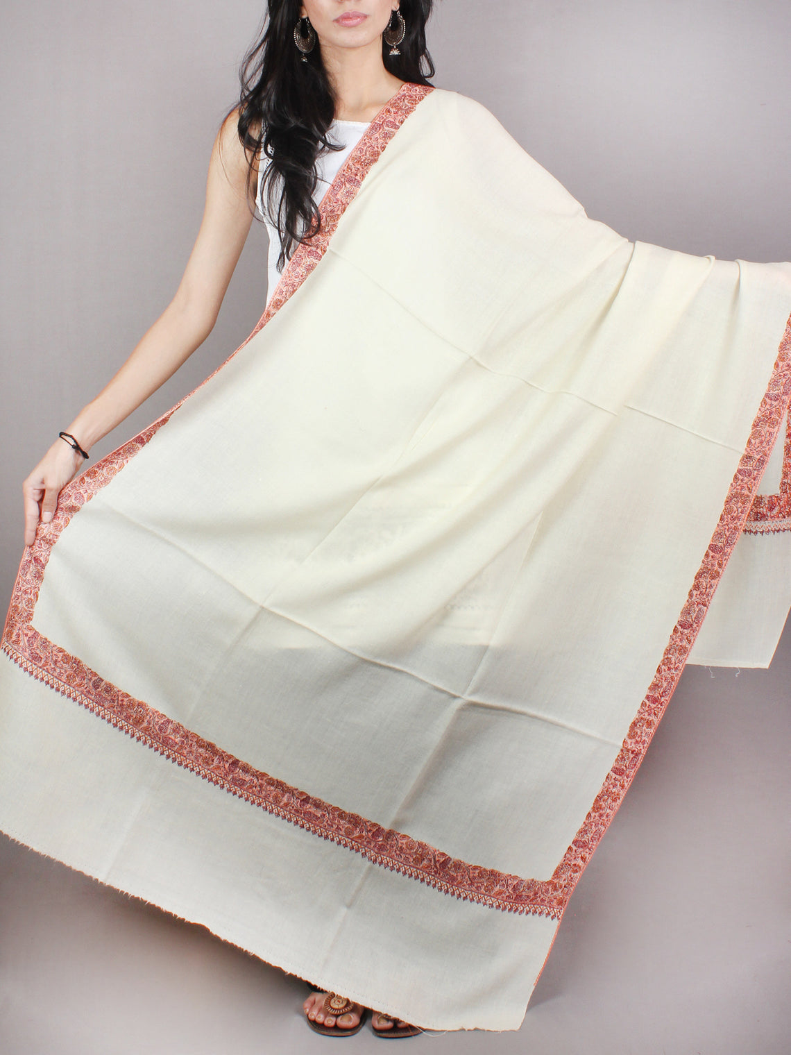 Cream Pink Black Yellow Pure Wool Nemdor Cashmere Shawl From Kashmir - S200502