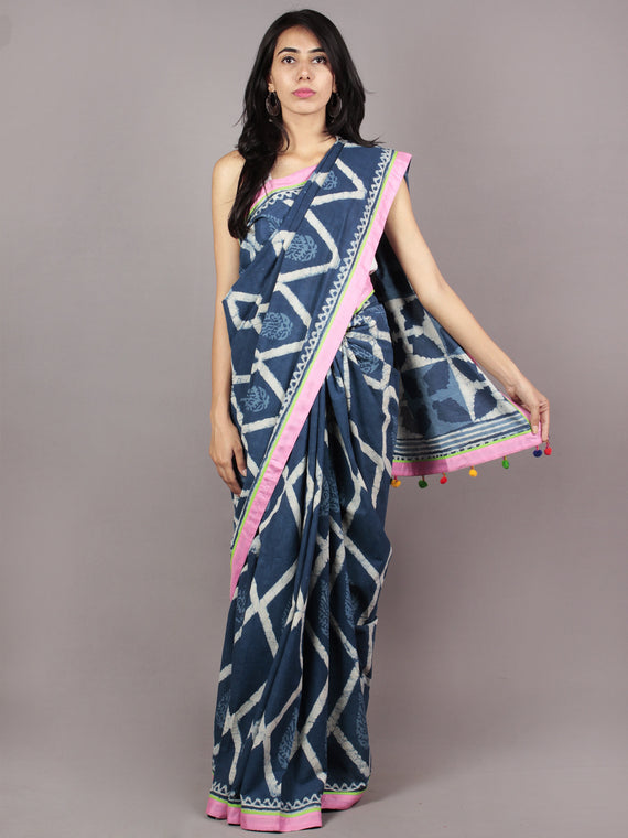 Indigo Ivory Pink Green Hand Block Printed Cotton Saree With Tassels - S031701724