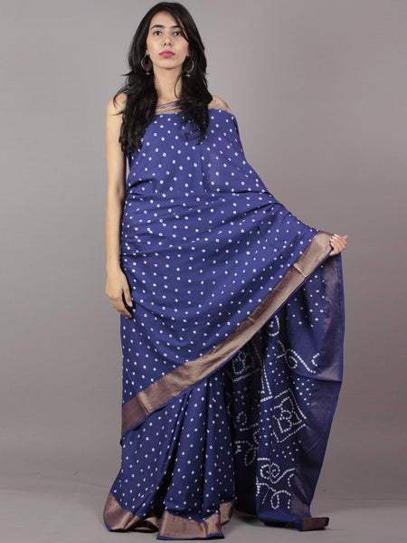 Admiral Blue Ivory Hand Tie & Dye Bandhej Glace Cotton Saree With Resham Border - S031701733