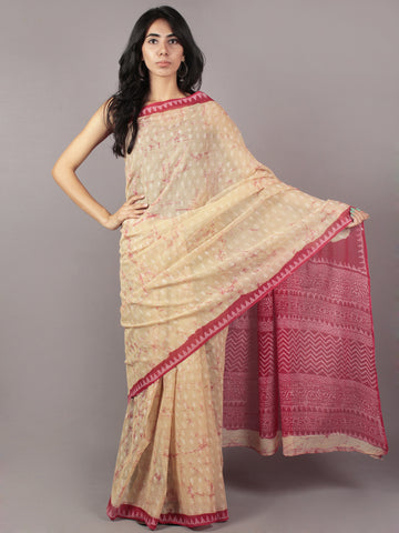 Pastel Yellow Pink Ivory Hand Block Printed Kota Doria Saree in Natural Colors - S031701792