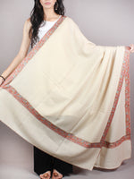 Ivory Brown Mint Green Pure Wool Nemdor Cashmere Shawl From Kashmir - S200503
