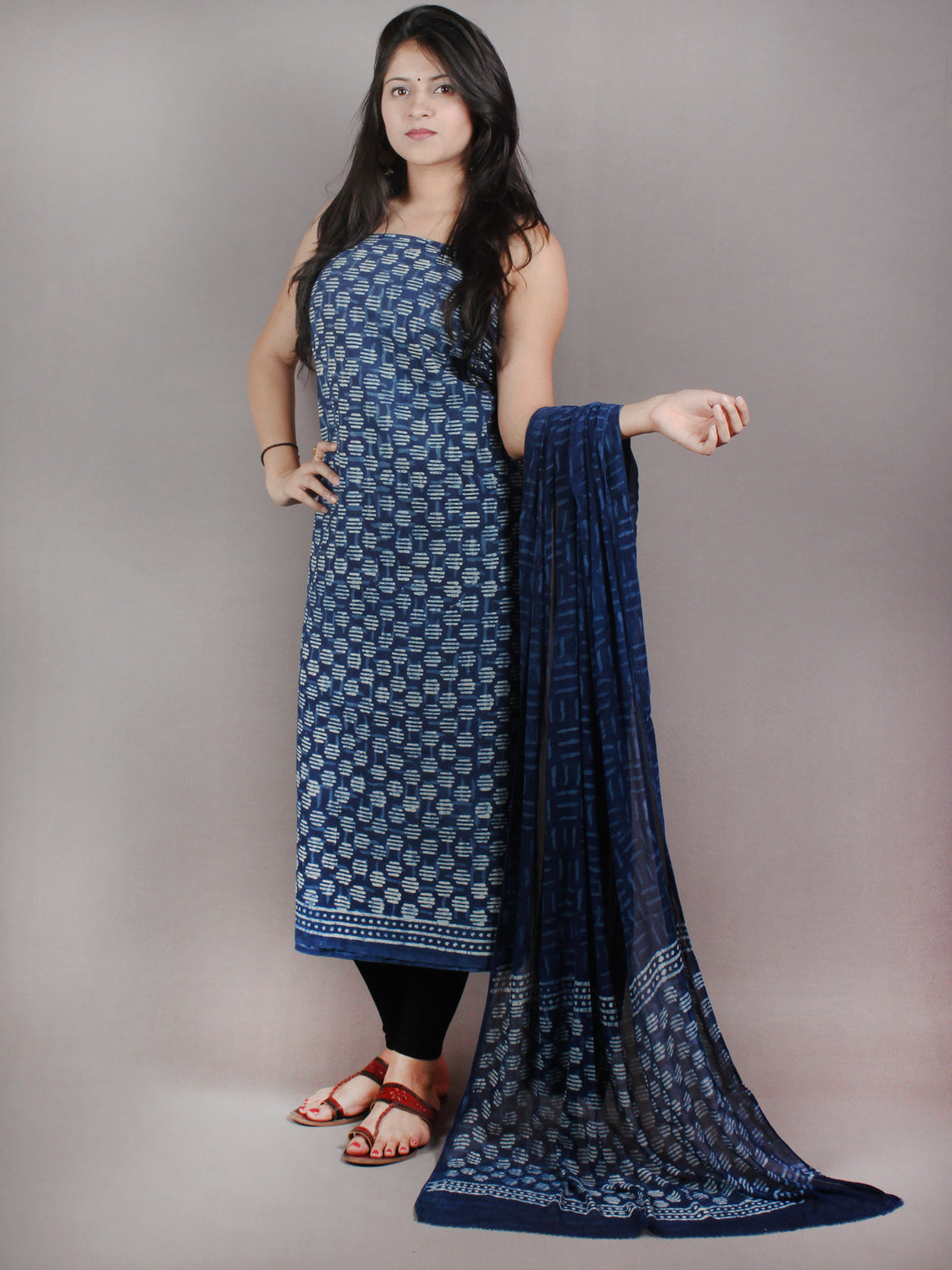 Indigo White Hand Block Printed Cotton Suit-Salwar Fabric With Chiffon Dupatta - S1628058