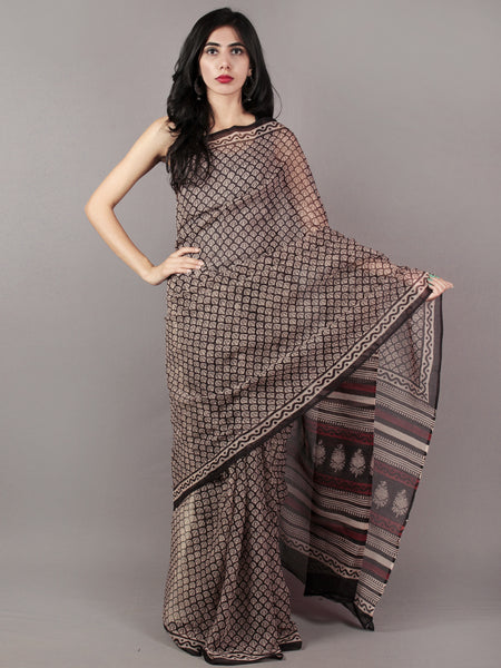 Black Ivory Maroon Hand Block Printed Kota Doria Saree in Natural Colors - S031701801