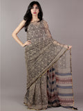 Beige Black Red and BlueHand Block Printed Chiffon Saree - S031701849