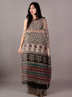 Beige Black Maroon Teal Green Hand Block Printed Chiffon Saree - S031701840