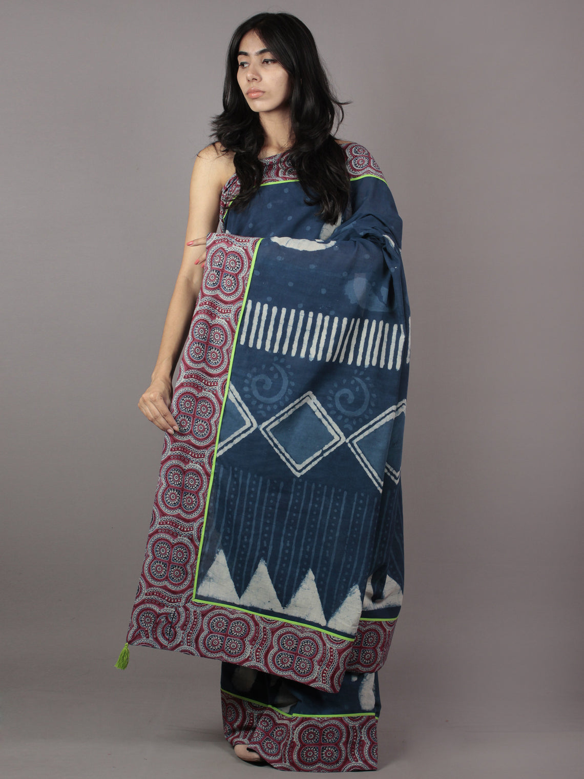 Indigo Ivory Hand Block Printed Cotton Saree With Maroon Ajrakh Printed Border & Tassels - S031701873