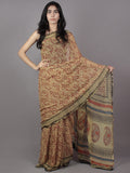 Beige Red Black Hand Block Printed Chiffon Saree - S031701879