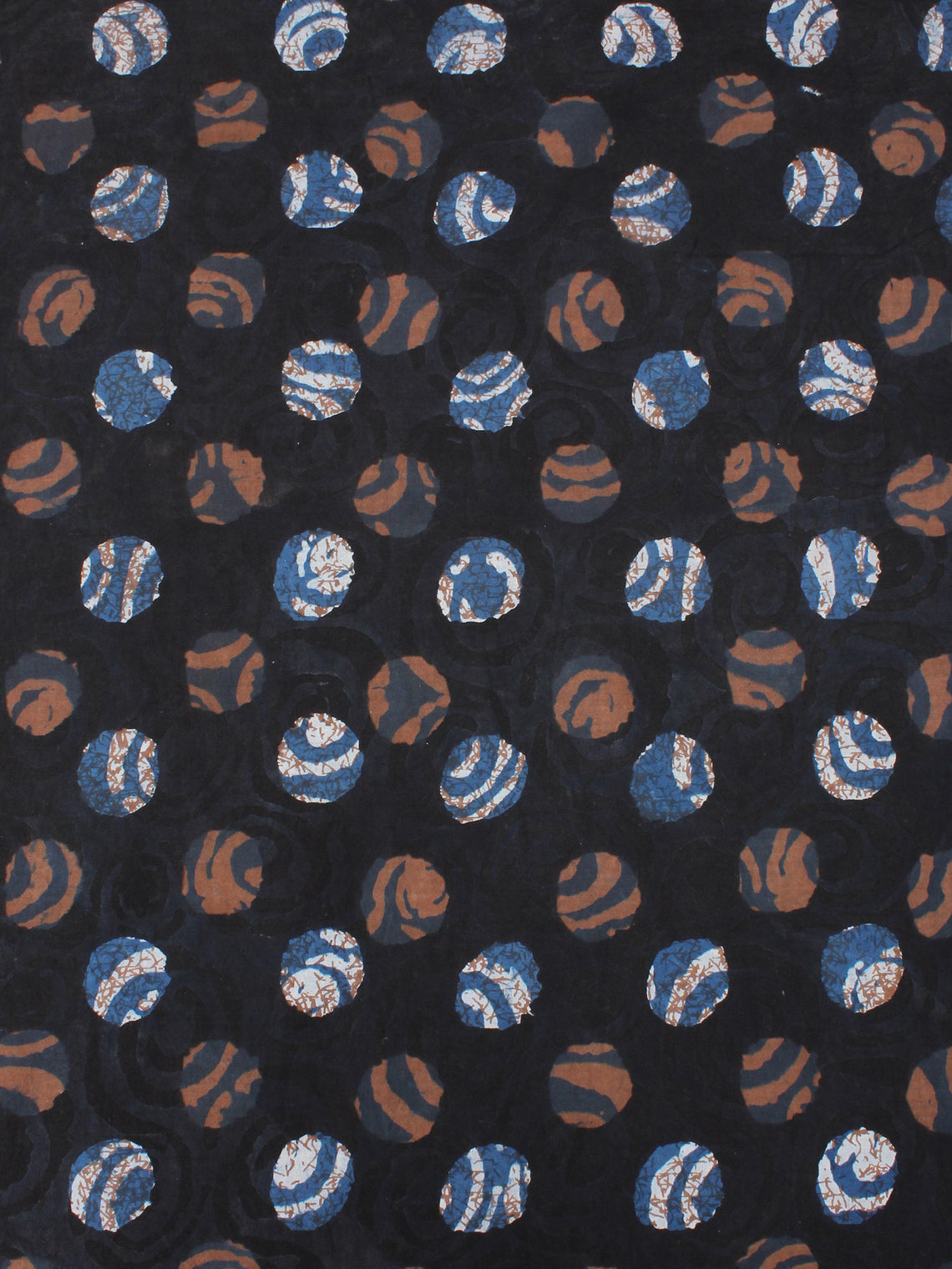 Black Brown Indigo Beige Hand Block Printed Cotton Cambric Fabric Per Meter - F0916411