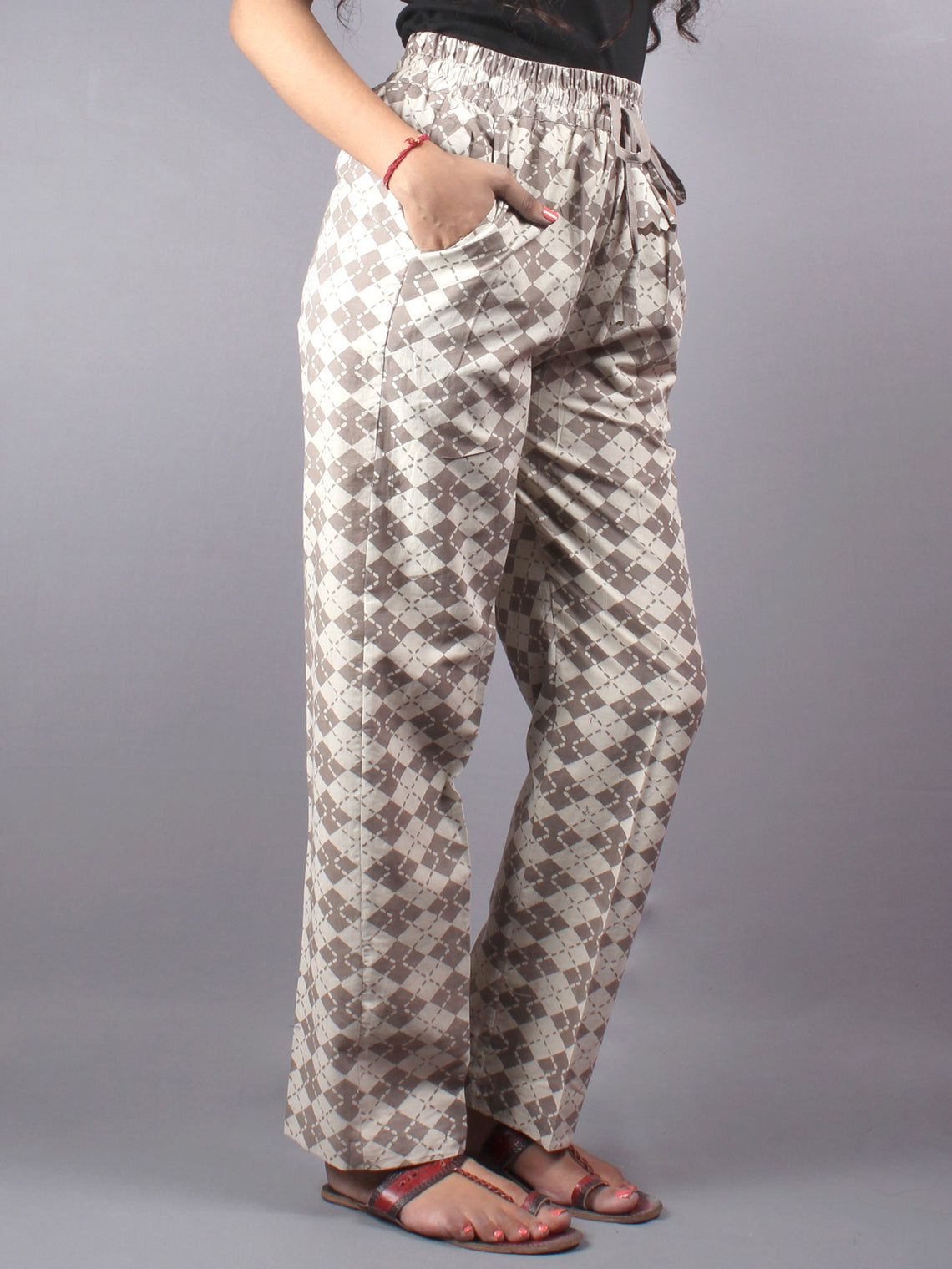 Beige Hand Block Printed Elasticated Waist Trousers- T0317019