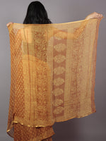 Rust Yellow Hand Block Printed Chiffon Saree - S031701889