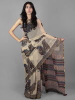 Beige Black Maroon Green Hand Block Printed Chiffon Saree - S031701900