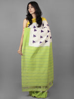 Ivory Purple Green Yellow Double Ikat Handwoven Ganga Jamuna Border Pochampally Cotton Saree - S031701910