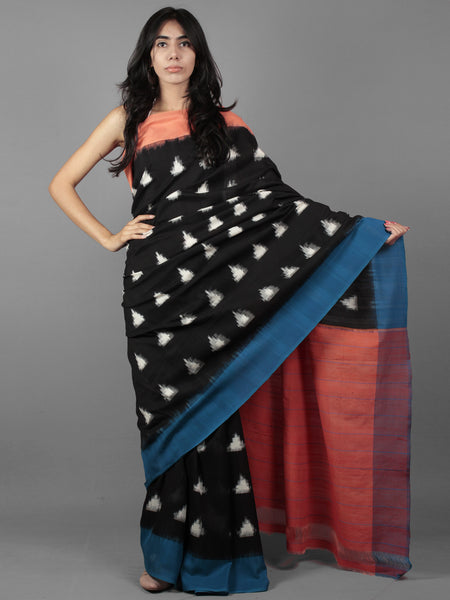Black Ivory Blue Peach Double Ikat Handwoven Ganga Jamuna Border Pochampally Cotton Saree - S031701913