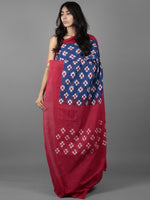 Royal Blue Maroon Ivory Double Ikat Handwoven Pochampally Cotton Saree - S031701919