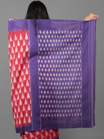 Red Purple Grey Ikat Handwoven Pochampally Mercerized Cotton Saree - S031701926